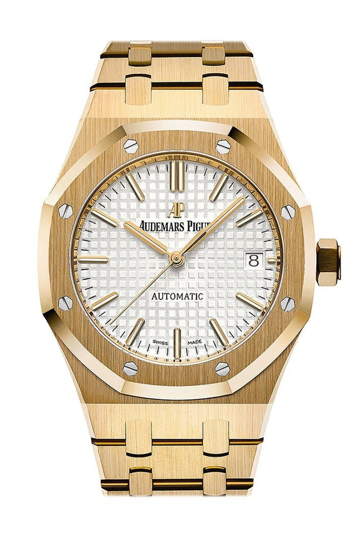 AUDEMARS PIGUET Royal Oak Silver Dial Automatic 18 Carat Yellow Gold Ladies Watch 15450BA.OO.1256BA.01