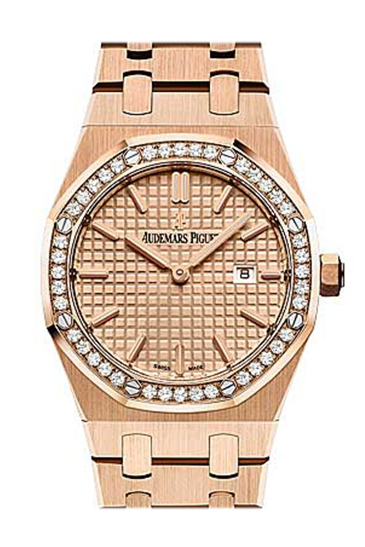 Audemars Piguet Royal Oak In Rose Gold With Diamond Bezel 67651Or.zz.1261Or.03 Watch