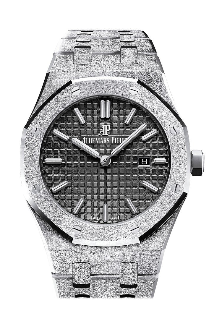 Audemars Piguet Royal Oak Frosted Black Dial Ladies 18K White Gold Watch 67653Bc.gg.1263Bc.02
