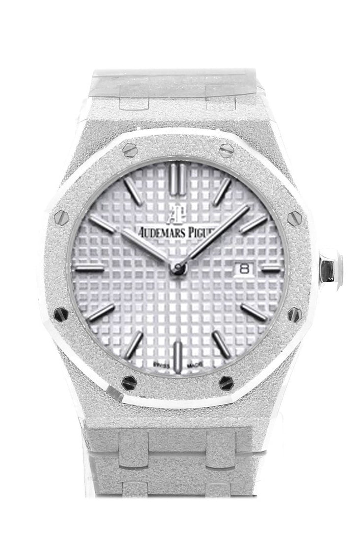 Audemars Piguet Royal Oak 33mm Rhodium-toned Dial Diamond Hammered White Gold Ladies Watch 67653BC.GG.1263BC.01
