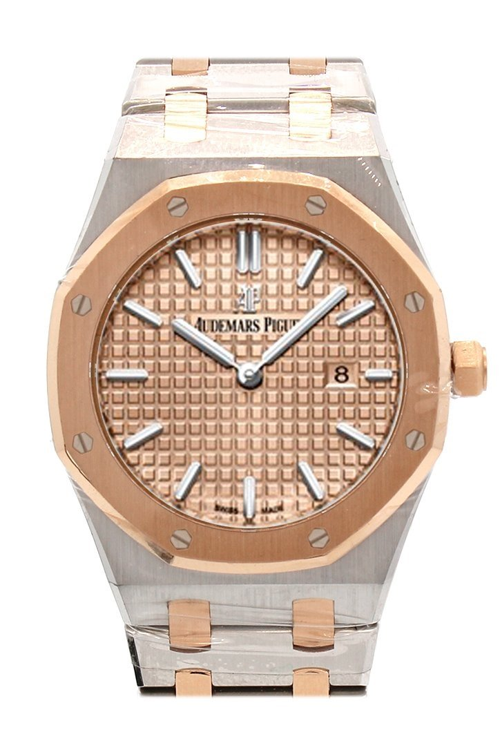 Audemars Piguet Royal Oak 33Mm Pink Gold-Toned Dial 18K Gold With Stainless Steel Ladies Watch