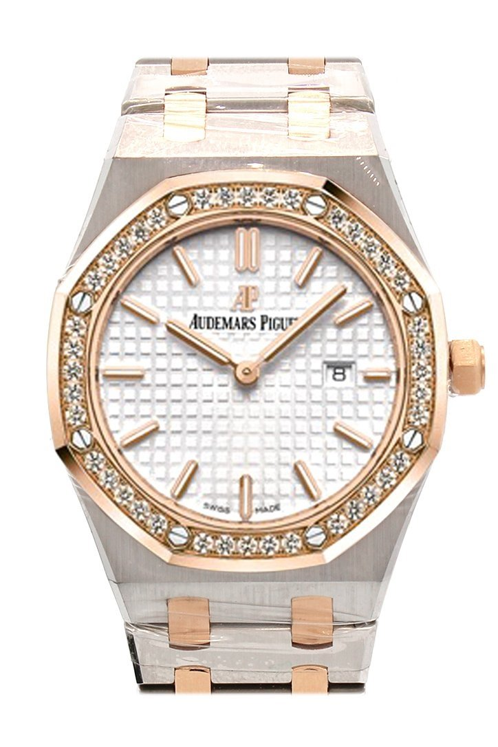 Audemars Piguet Royal Oak 33Mm Silver-Toned Dial 18K Pink Gold With Stainless Steel Ladies Watch