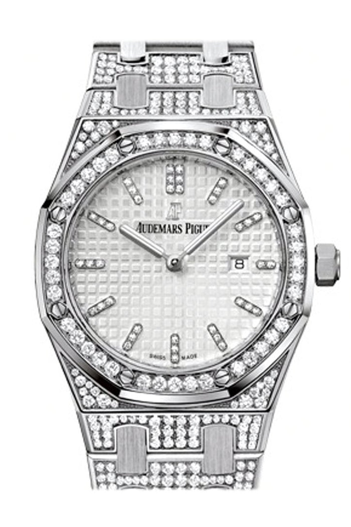 Audemars Piguet Royal Oak 33mm Silver-toned Dial Diamond White Gold Ladies 67652BC.ZZ.1262BC.01