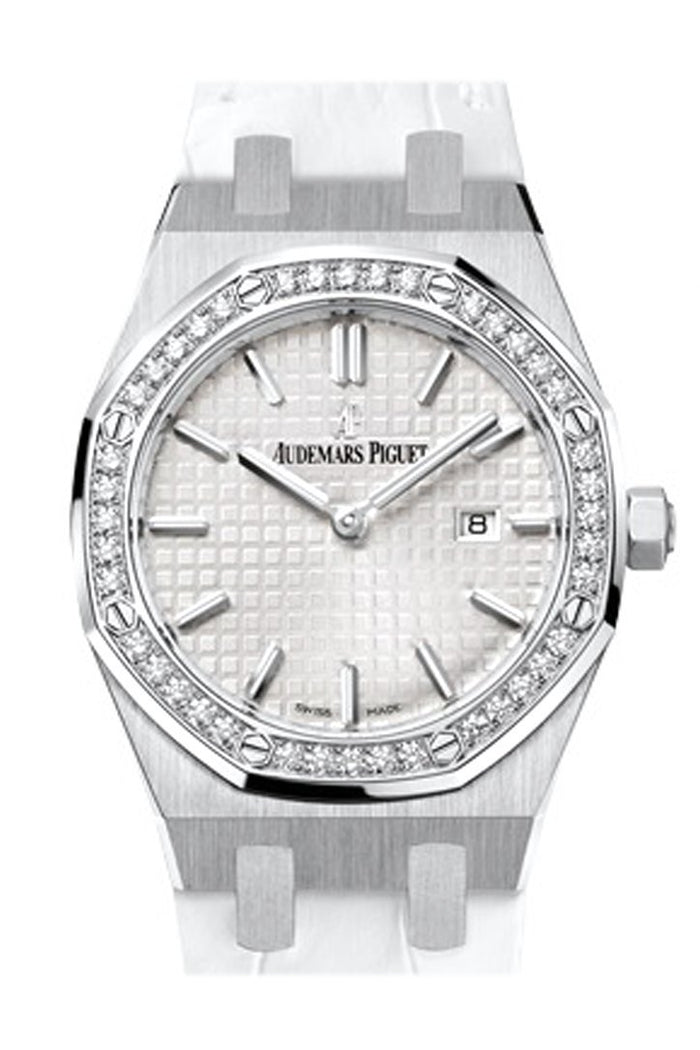 Audemars Piguet Royal Oak 33mm Silver-toned Dial Diamond White crocodile strap Ladies 67651ST.ZZ.D010CR.01