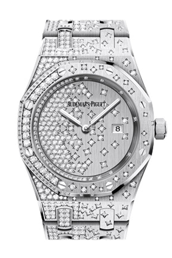 Audemars Piguet Royal Oak 33Mm Diamond Set Dial White Gold Ladies 67654Bc.zz.1264Bc.01 Watch