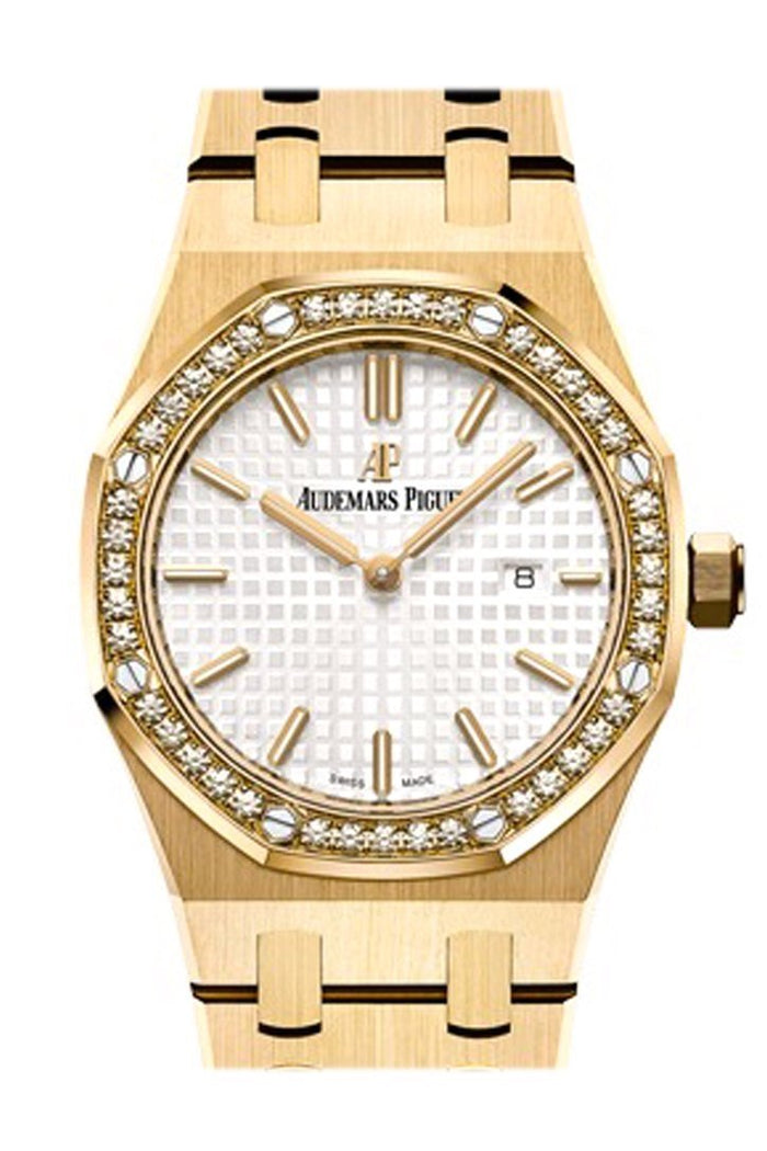 Audemars Piguet Royal Oak 33mm Silver-toned Dial Diamond Yellow Gold Ladies 67651BA.ZZ.1261BA.01
