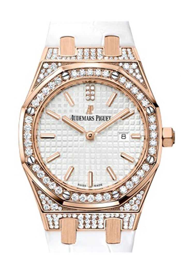 Audemars Piguet Royal Oak 33mm Silver-toned Dial Diamond 18K Pink Gold white alligator strap Ladies 67652OR.ZZ.D011CR.01