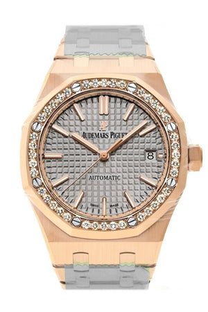 Audemars Piguet Royal Oak 37Mm Grey Nickel-Toned Dial Automatic 18K Pink Gold Ladies Diamond Watch