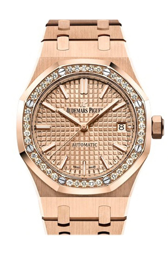 Audemars Piguet Royal Oak 37mm Pink gold-toned Automatic 18K Pink Gold Ladies Diamond Watch 15451OR.ZZ.1256OR.03