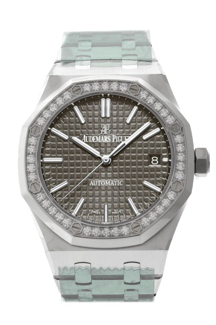 Audemars Piguet Royal Oak 37mm Grey ruthenium-toned Dial Diamond Stainless Steel Watch 15451ST.ZZ.1256ST.02