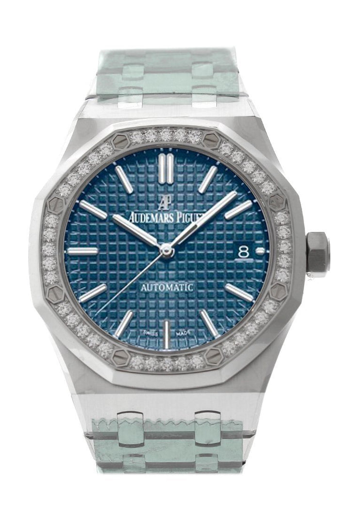 Audemars Piguet Royal Oak 37mm Grey Blue Dial Diamond Stainless Steel Watch 15451ST.ZZ.1256ST.03