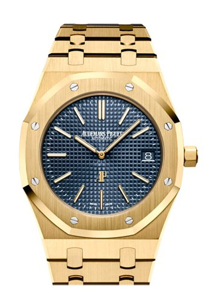 "Audemars Piguet Royal Oak Blue dial with ""Petite Tapisserie"" pattern 18K Yellow Gold Extra-Thin Watch 15202BA.OO.1240BA.01"