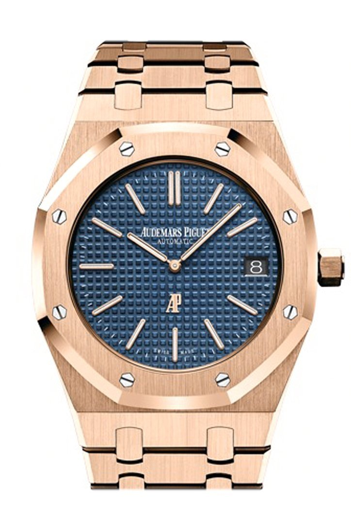 Audemars Piguet Royal Oak 39Mm Blue Dial Extra-Thin 18K Pink Gold Watch 15202Or.oo.1240Or.01.a