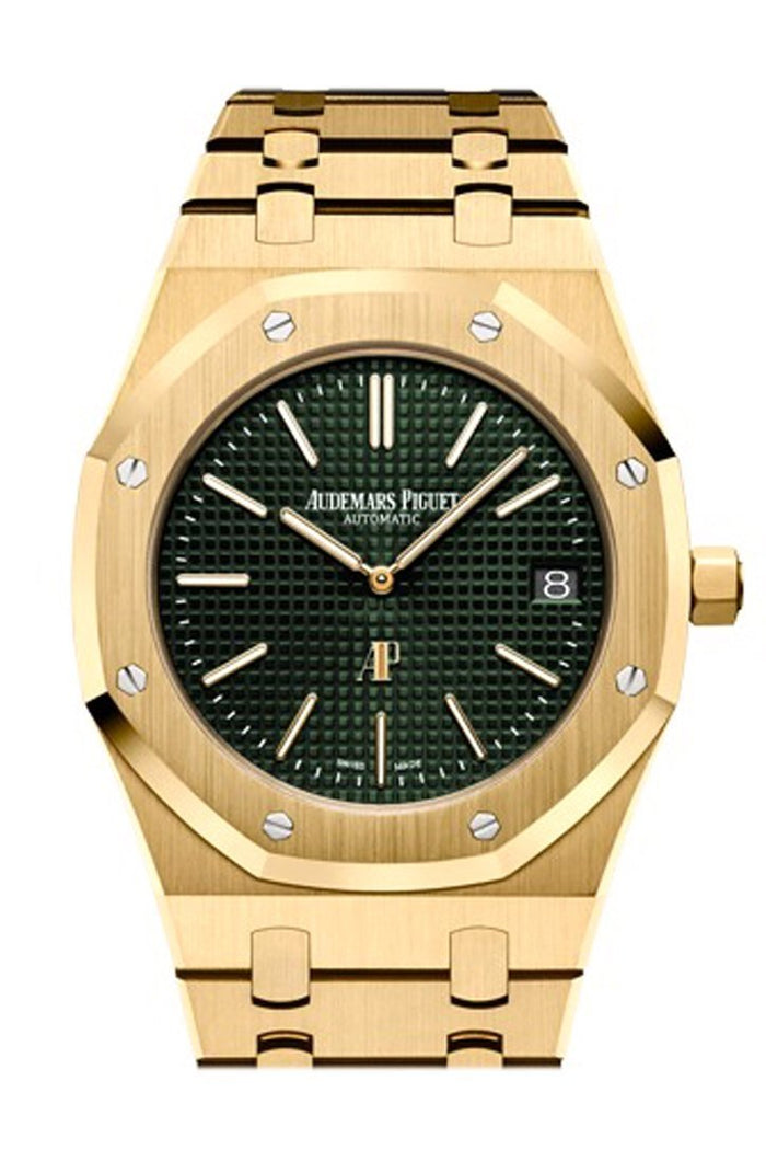 Audemars Piguet Royal Oak Royal Oak Green Dial Extra-Thin Automatic Extra-Thin Men's 18K Yellow Gold Watch 15205BA.OO.1240BA.01