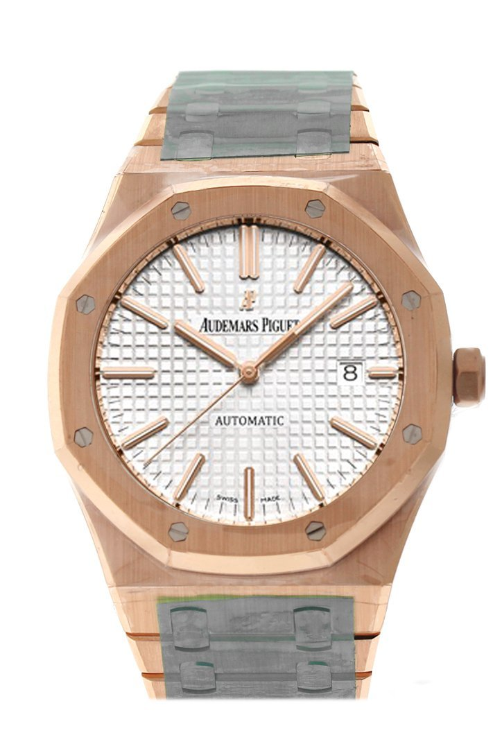 Audemars Piguet Royal Oak 41Mm White Dial Pink Gold Watche 15400Or.oo.1220Or.02 Silver Watch