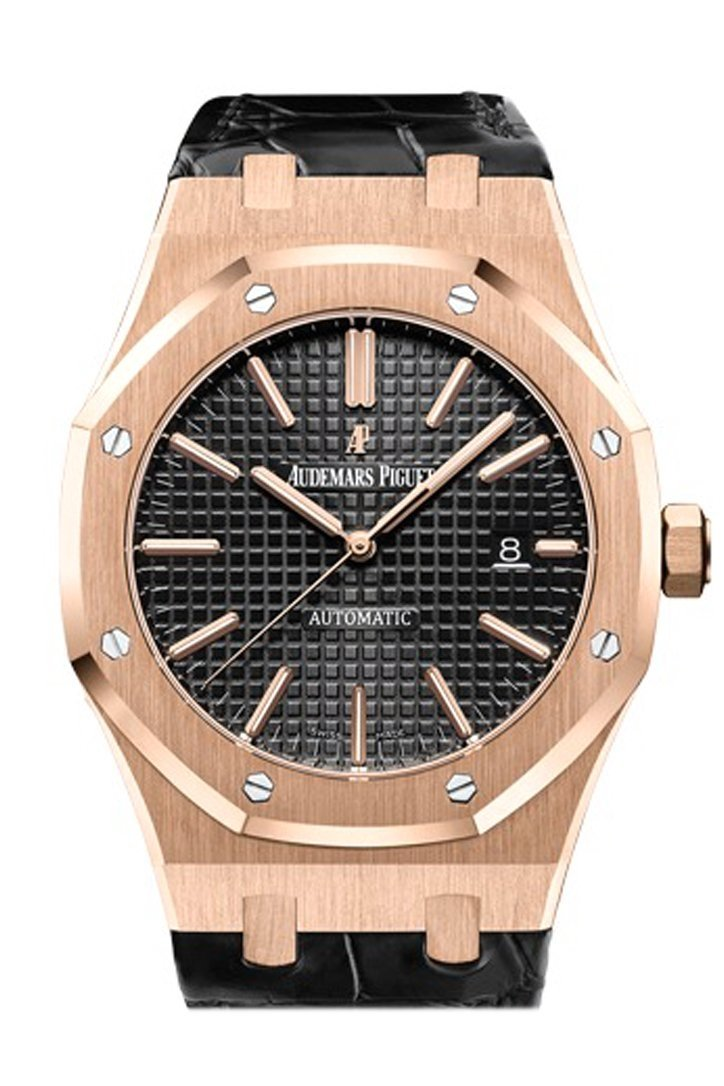 Audemars Piguet Royal Oak 41Mm Black Dial Pink Gold Alligator Strap Watche 15400Or.oo.d002Cr.01