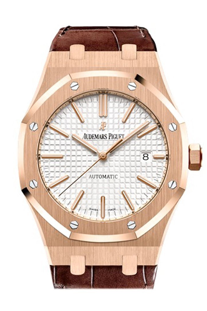 Audemars Piguet Royal Oak 41mm Silver-toned dial Pink Gold Brown Alligator Strap Watche 15400OR.OO.D002CR.01