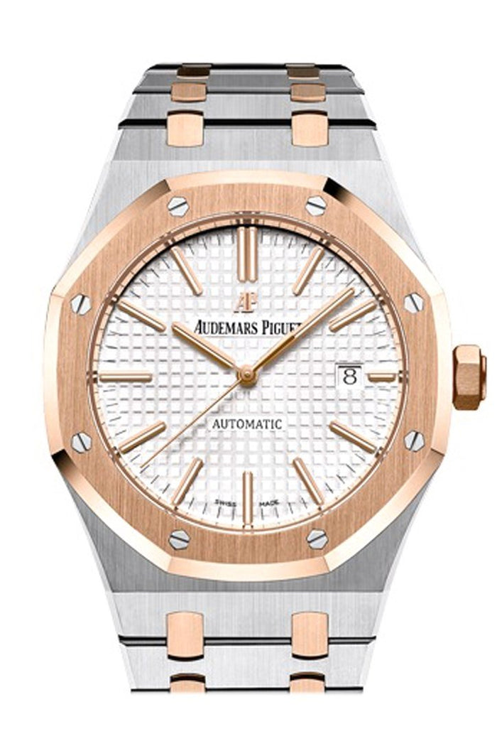 Audemars Piguet Royal Oak 41mm Silver-toned dial Pink Gold and Steel Watch 15400OR.OO.D002CR.01