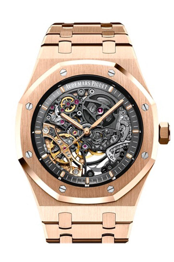 Audemars Piguet Royal Oak 41Mm Slate Grey Openworked Dial 18K Pink Gold Bracelet Mens Watch