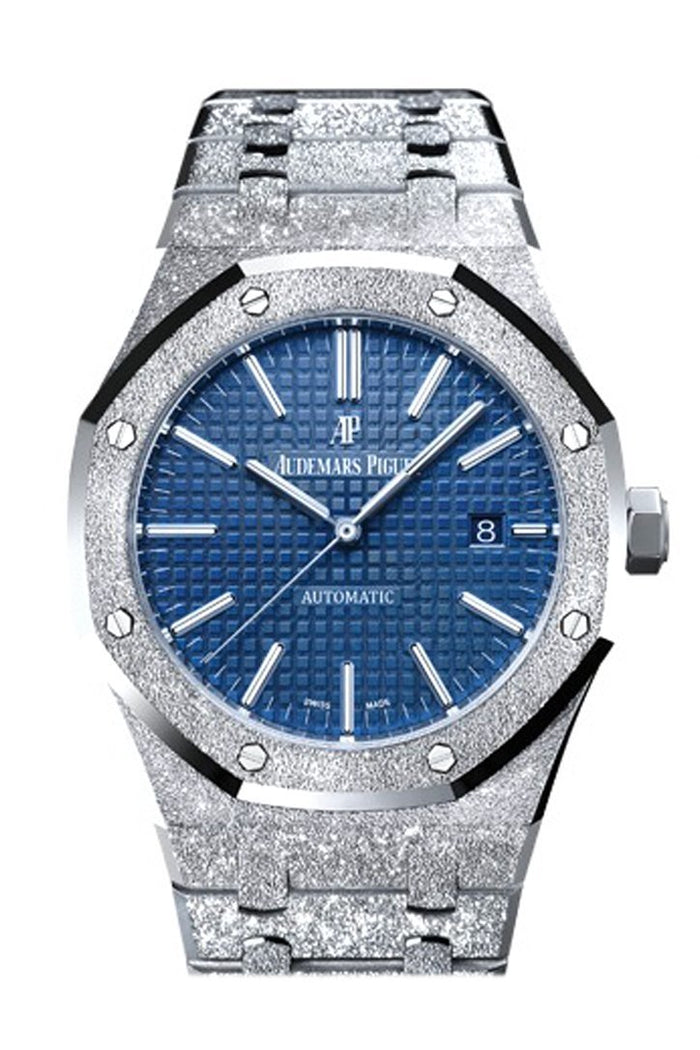 Audemars Piguet Royal Oak 41mm Blue dial Hammered 18K white gold Men's Watch 15410BC.GG.1224BC.01