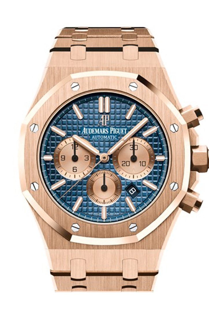 Audemars Piguet Royal Oak 41mm Blue Dial 18K pink gold Bracelet Men's Watch 26331OR.OO.1220OR.01