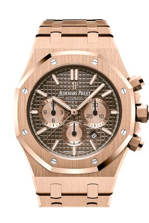 Audemars Piguet Royal Oak 41Mm Brown Dial 18K Pink Gold Bracelet Mens Watch 26331Or.oo.1220Or.02
