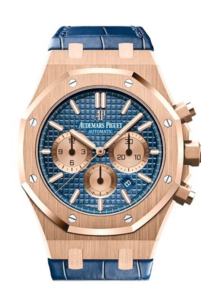 Audemars Piguet Royal Oak 41mm Blue Dial 18K Pink Gold blue alligator strap Men's Watch 26331OR.OO.D315CR.01
