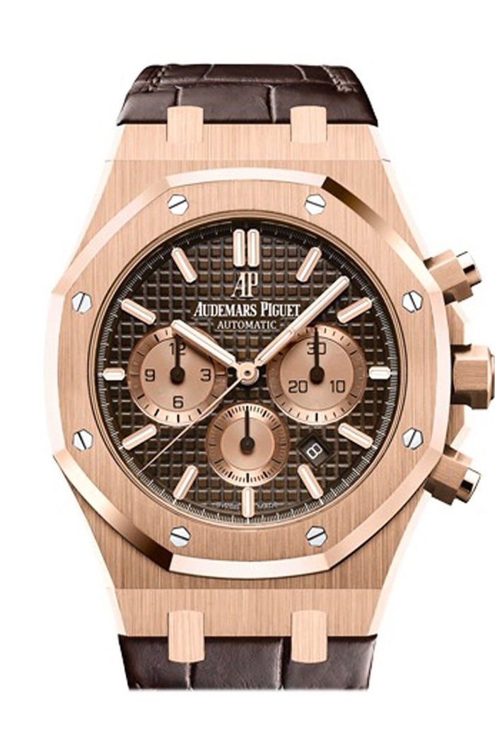Audemars Piguet Royal Oak 41mm Brown Dial 18K Pink Gold Brown alligator strap Men's Watch 26331OR.OO.D821CR.01