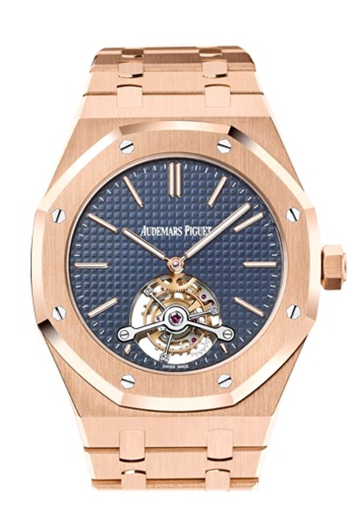 Audemars Piguet Royal Oak 41Mm Extra Thin Tourbillon Blue Dial 18K Rose Gold Mens Watch