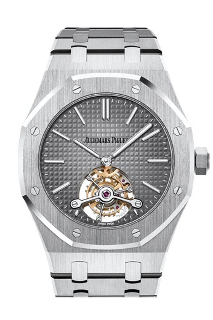 Audemars Piguet Royal Oak 41 Tourbillon Extra-Thin Smoked Grey 950 Platinum Dial Mens Watch