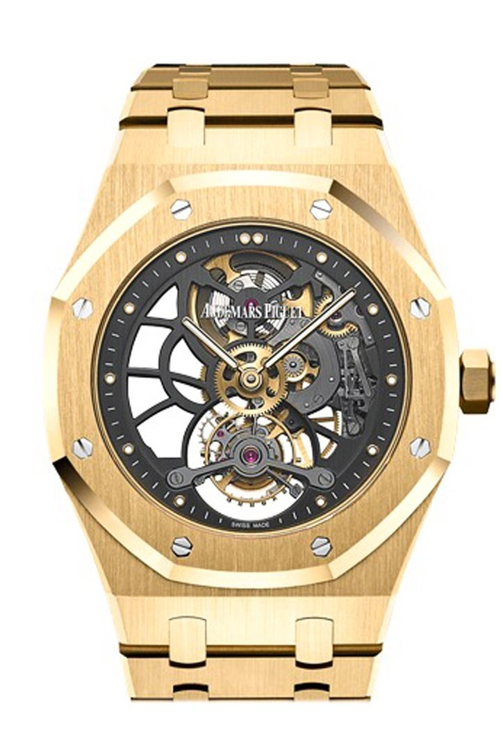 Audemars Piguet Royal Oak 41Mm Tourbillon Extra- Thin Slate Grey Skeleton Dial 18K Yellow Gold Mens