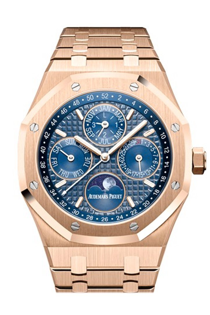 Audemars Piguet Royal Oak 41Mm Blue Dial 18K Rose Gold Mens Watch 26574Or.oo.1220Or.02