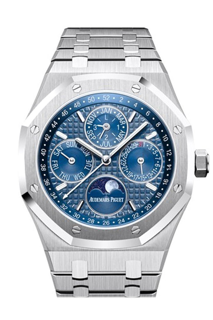 Audemars Piguet Royal Oak 41mm Blue Dial white gold applied hourmarkers Stainless steel Men's Watch 26574ST.OO.1220ST.02