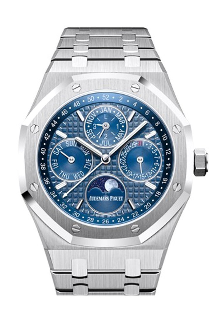 Audemars Piguet Royal Oak 41Mm Blue Dial White Gold Applied Hourmarkers Stainless Steel Mens Watch
