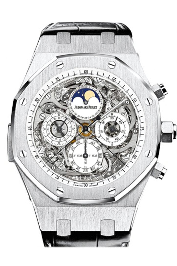 Audemars Piguet Royal Oak Openworked Grande Complication Sapphire Titanium Black Alligator Strap
