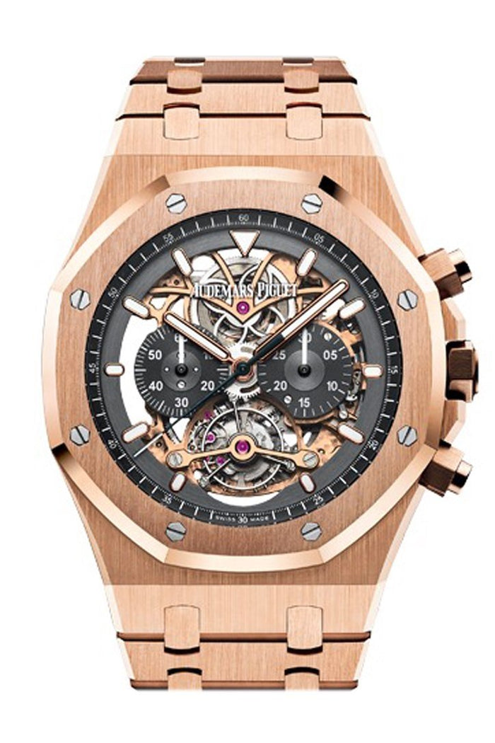 Audemars Piguet Royal Oak 44mm Tourbillon Chronograph Openworked Rhodium Toned 18K Pink Gold Mens Watch 26347OR.OO.1205OR.01