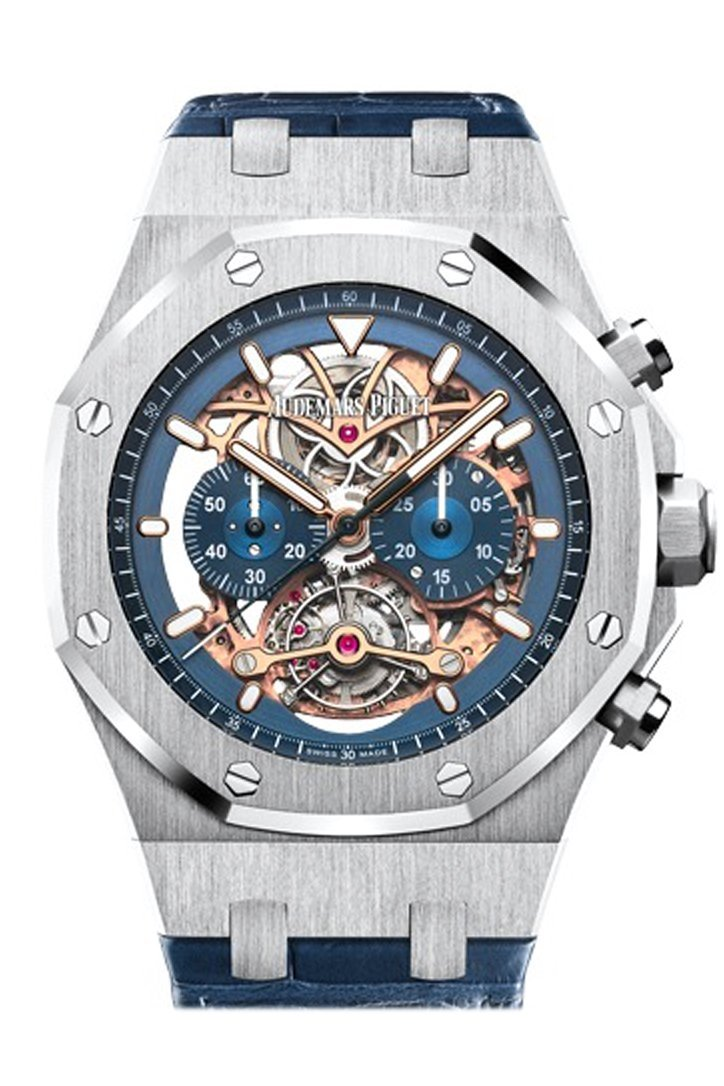 Audemars Piguet Royal Oak 44Mm Tourbillon Chronograph Openworked Blue Dial Alligator Strap 950