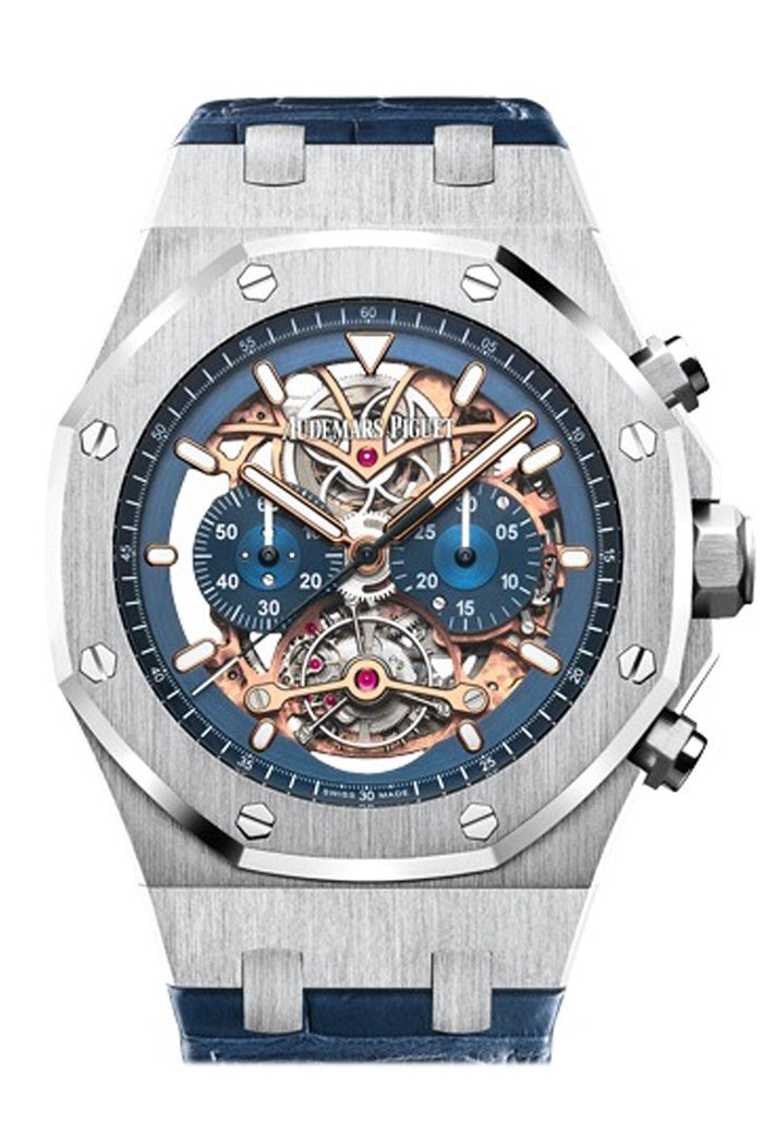 Audemars Piguet Royal Oak 44mm Tourbillon Chronograph Openworked Blue Dial Blue Alligator Strap 950 platinum Mens Watch 26347PT.OO.D315CR.01