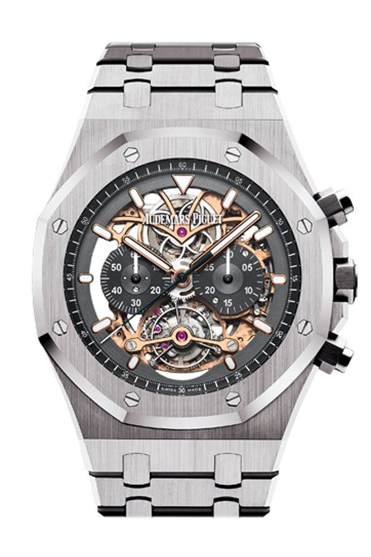 Audemars Piguet Royal Oak 44Mm Tourbillon Chronograph Openworked Rhodium Dial Titanium Mens Watch