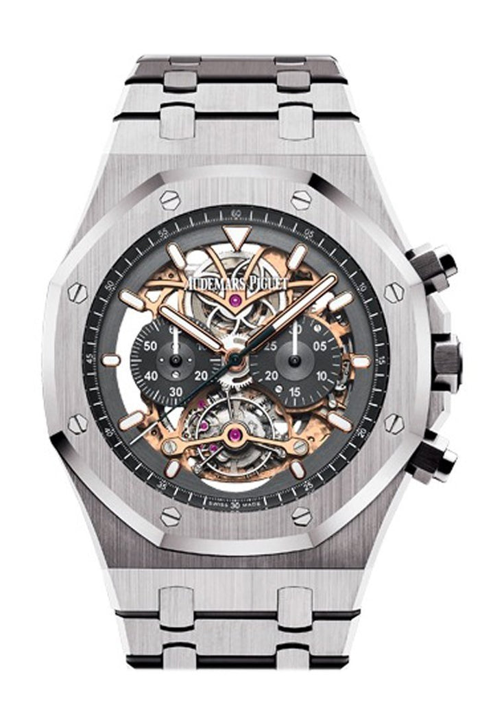Audemars Piguet Royal Oak 44mm Tourbillon Chronograph Openworked Rhodium Dial Titanium Mens Watch 26347TI.OO.1205TI.01