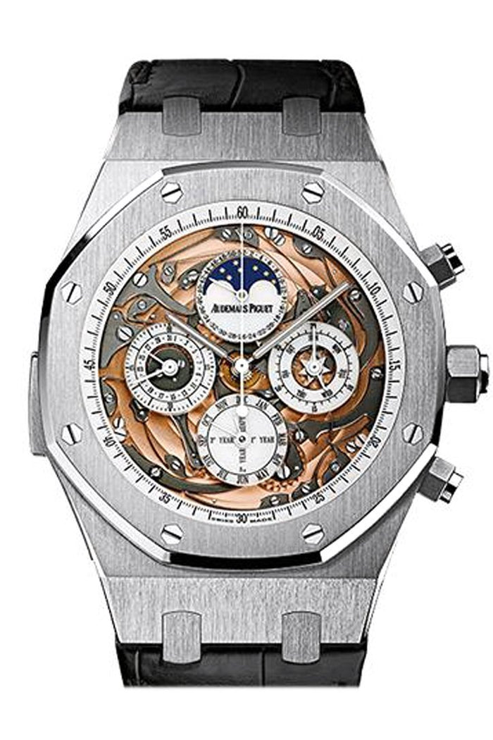 Audemars Piguet Royal Oak 44mm Grande Complication Sapphire Dial Black Crocodile Strap 18K White Gold Mens Watch 26552BC.OO.D002CR.01