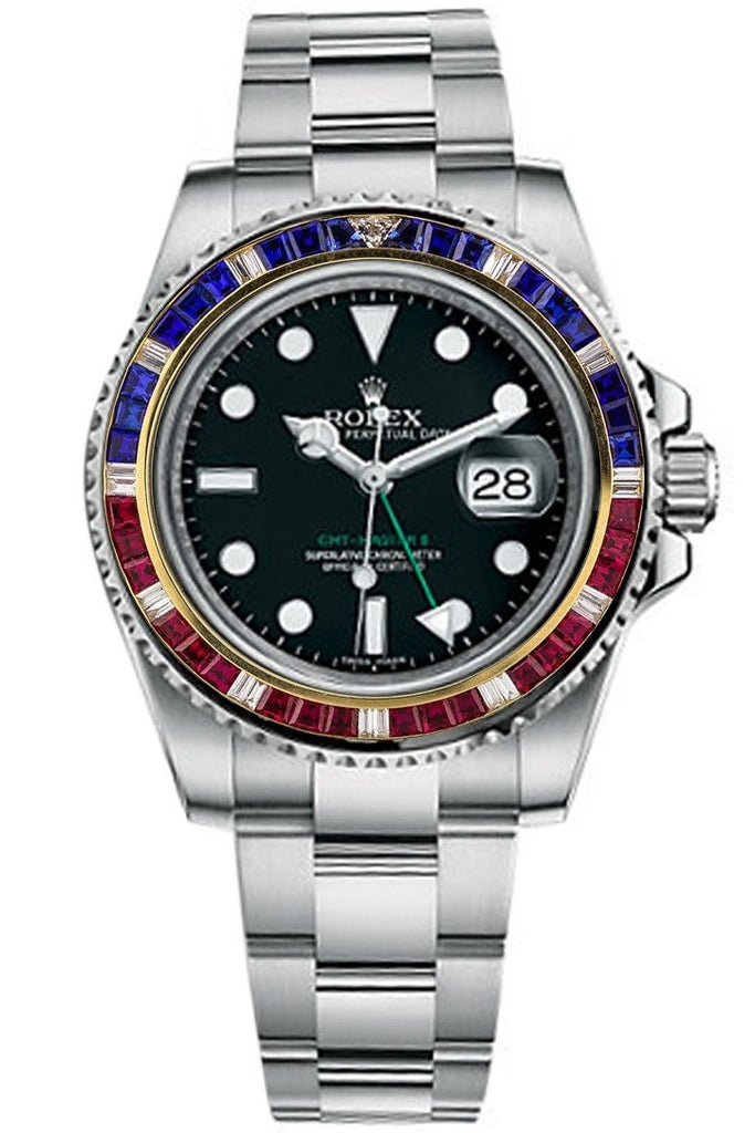 Custom Diamond Bezel Rolex Gmt-Master Ii Mens 40Mm Ct Solid 14K Yellow Gold Custom-Bezel