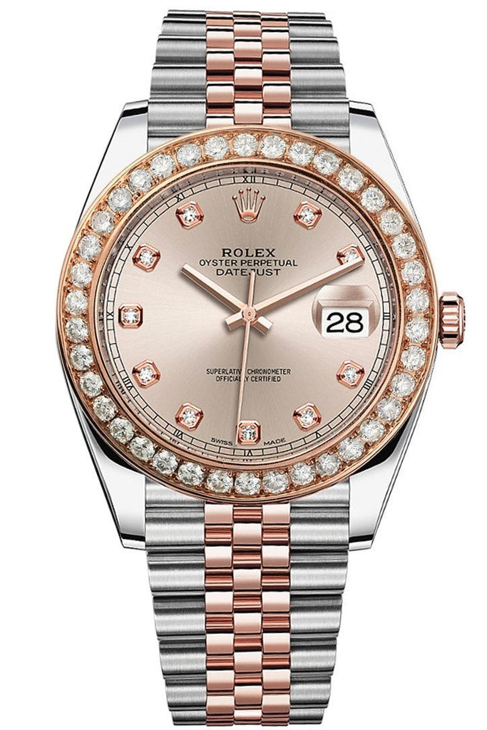 Custom Diamond Bezel Rolex Day-Date / Datejust 41Mm Solid 14K Rose Gold Custom-Bezel