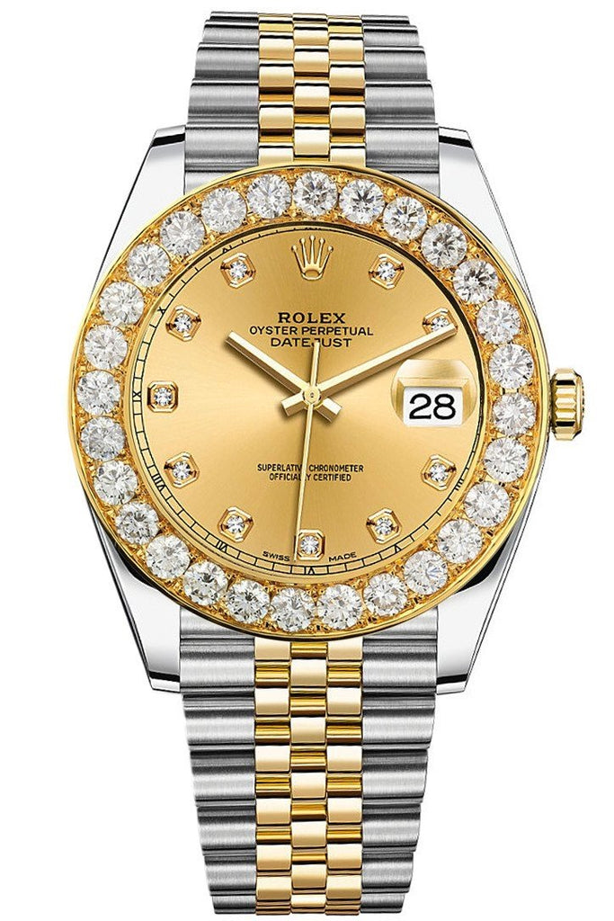 Custom Diamond Bezel Rolex Day-Date / Datejust 41mm Solid 14K Yellow Gold