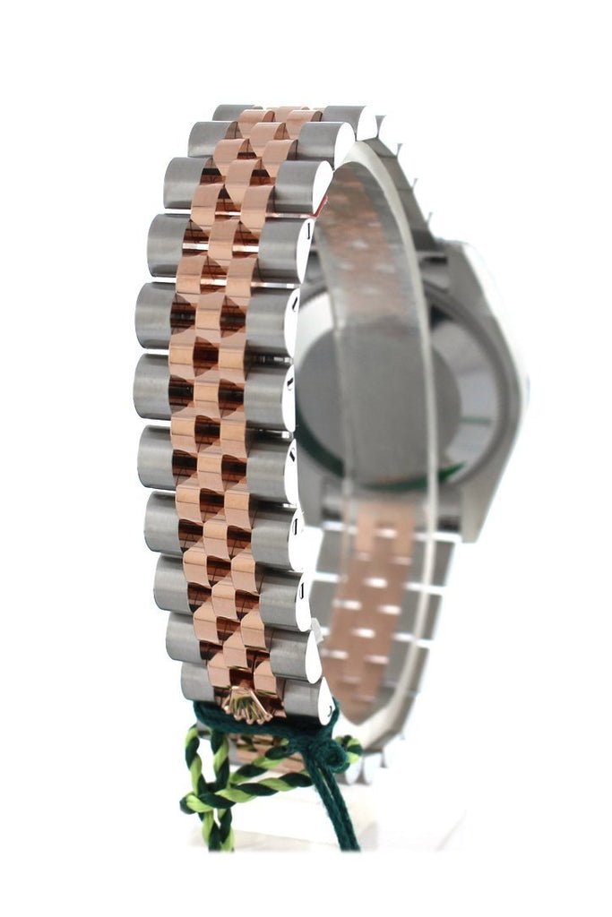 Custom Diamond Bezel Rolex Datejust 31 Black Mother of Pearl Roman Dial 18K Rose Gold Two Tone Jubilee Ladies Watch 178241