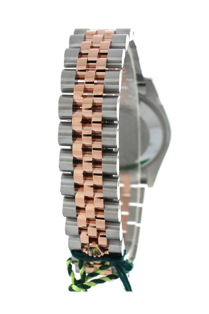 Custom Diamond Bezel Rolex Datejust 31 Chocolate Roman Large Vi Set With Dial 18K Rose Gold Two Tone