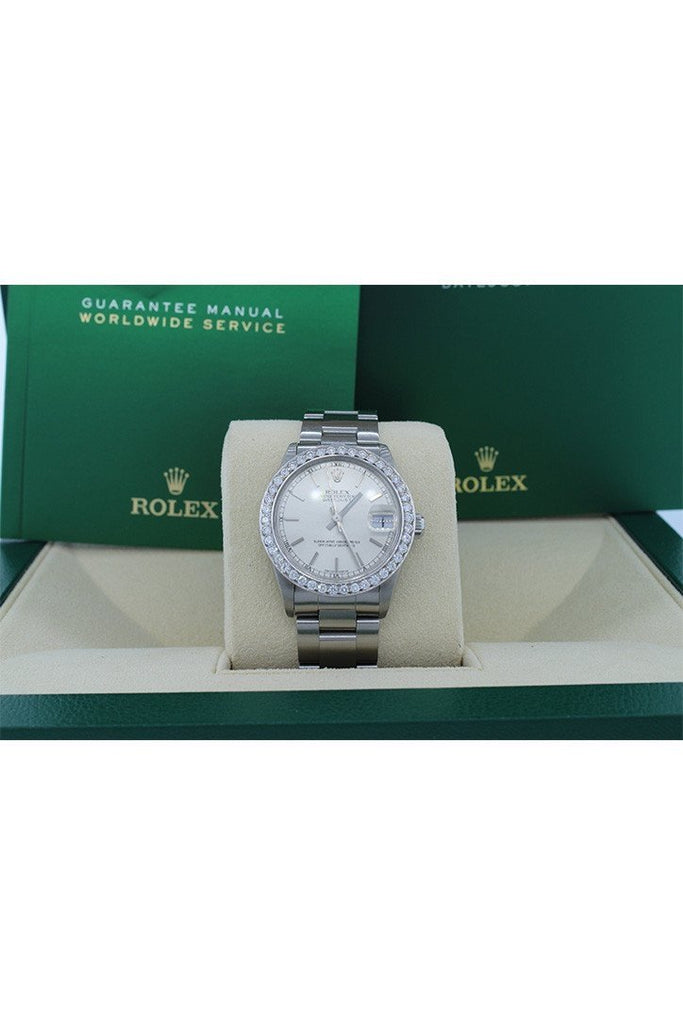 Rolex Custom Diamond Bezel Datejust 31 Silver Dial Ladies Watch 178274