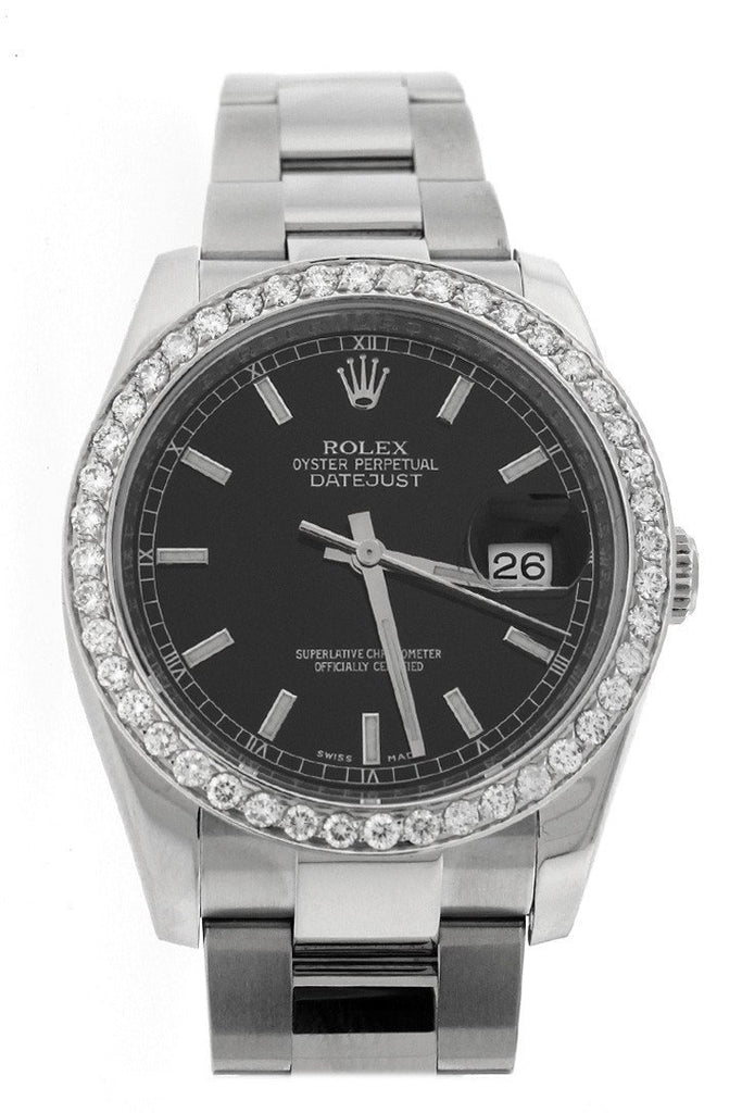 Rolex Custom Diamond Bezel Datejust 36 Black Dial Ladies And Mens Watch 116200 / None Watches