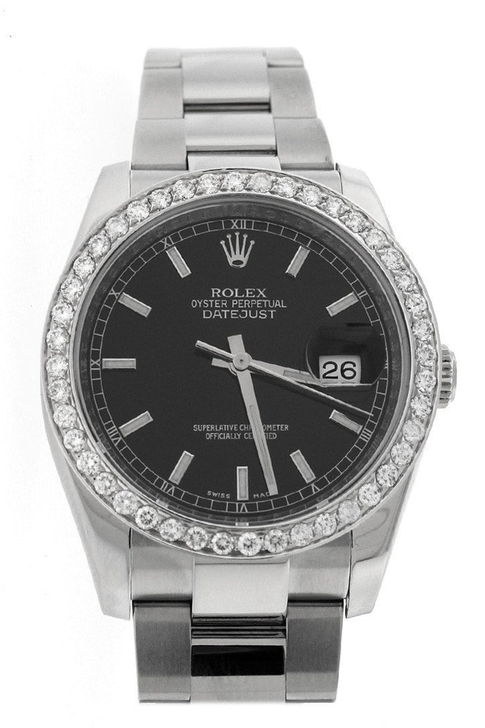 Rolex Custom Diamond Bezel Datejust 36 Ladies and Men's Watch 116200