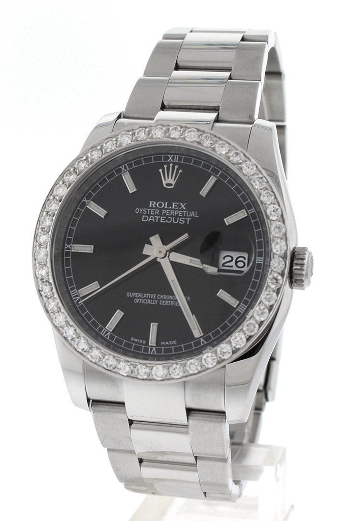 Rolex Custom Diamond Bezel Datejust 36 Black Dial Ladies And Mens Watch 116200 Watches